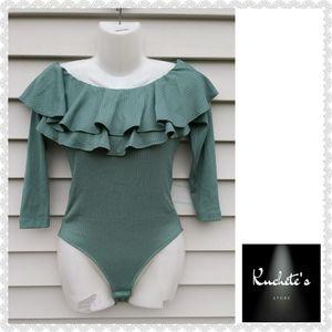 Eva Mendes NY&C Green Nola Ruffled Bodysuit